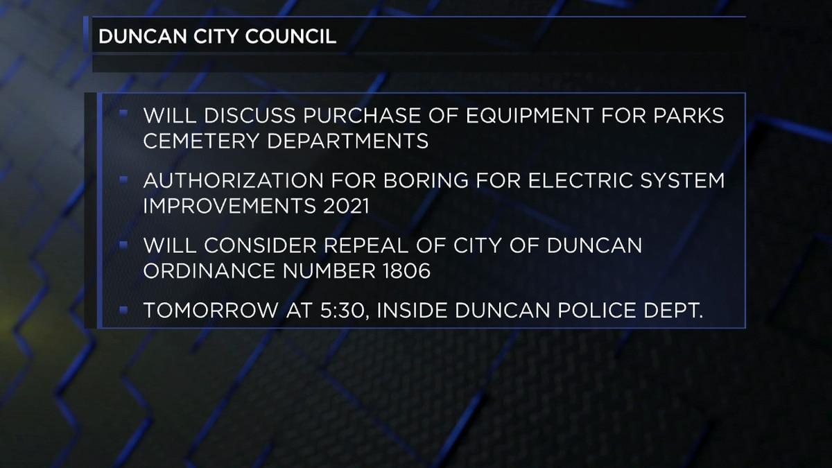 The Duncan City Council is set to meet at 5:30 p.m. June 22nd.