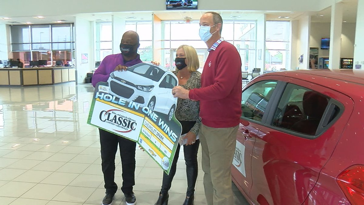 A Lawton dentist was awarded a free car on Friday after hitting a hole-in-one during a recent...