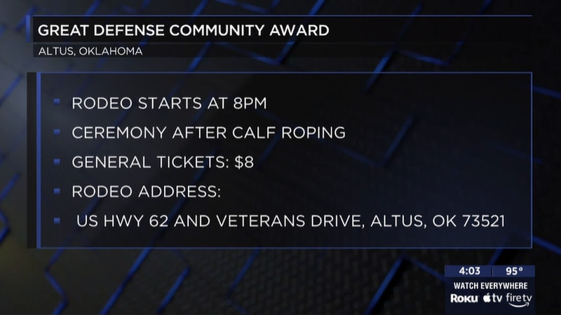 The City of Altus will receive the Great American Defense Community award.