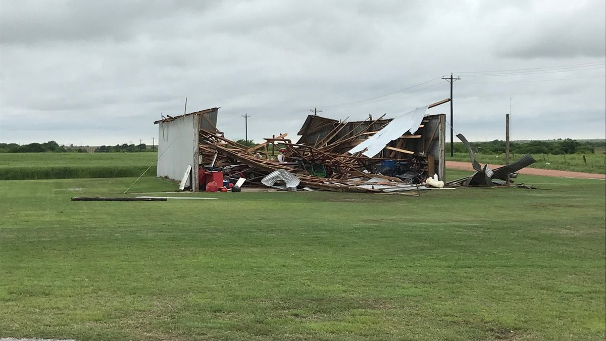 An EF-2 tornado left a path of damage from Hobart to Cordell. (Source KSWO)