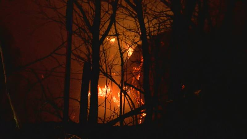 Crews responded to a fire Tuesday night near homes in Comanche County.