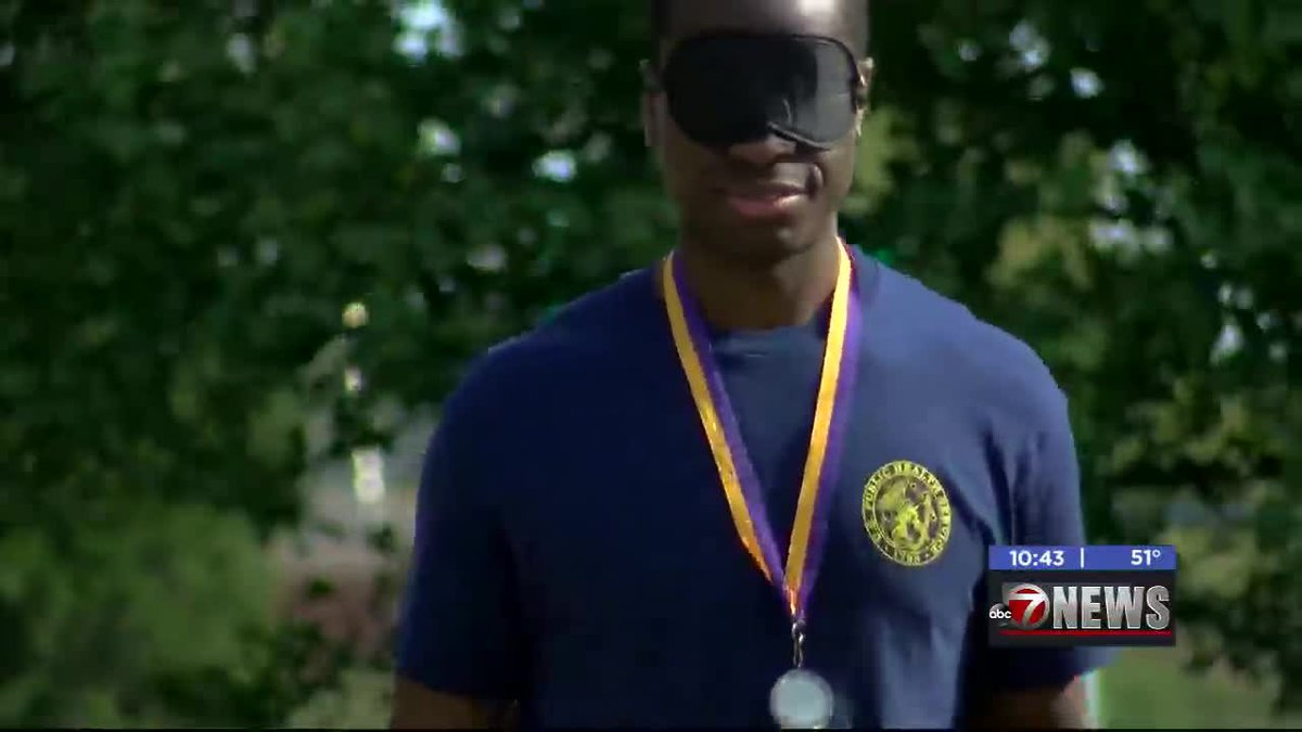 The Lawton Patriot's Lions Club held a blindfolded race to help raise money to help those with...