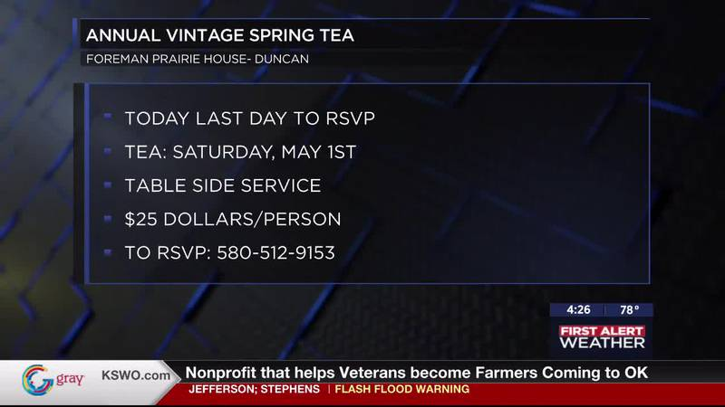 Wednesday, April 28 is last day to RSVP for the Annual Vintage Spring Tea set to take place at...