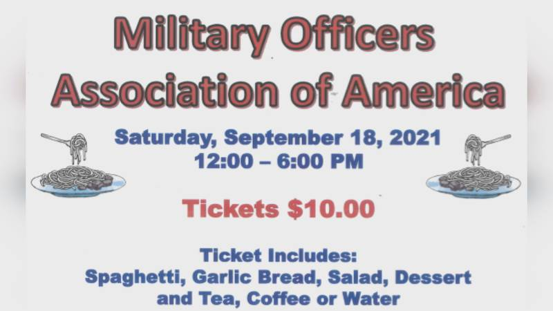 Military Officers Association of America hosts a silent auction and spaghetti dinner on Sept. 18.