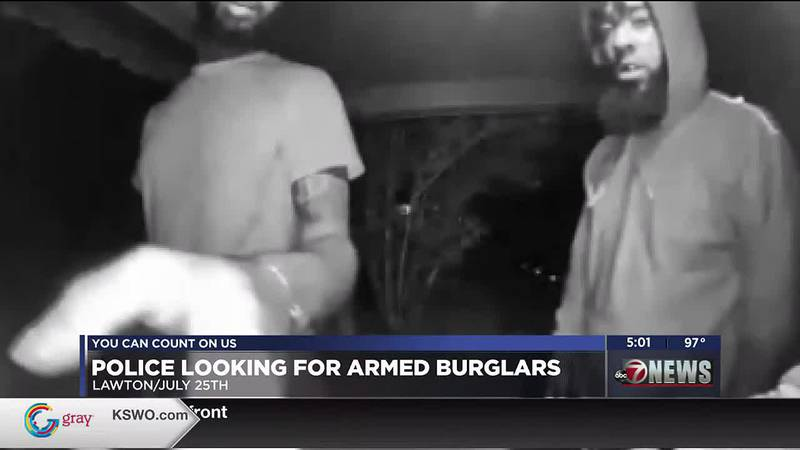 Police continue search for armed burglars.