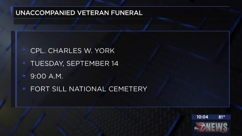 Lawton Fort Sill National Cemetery invites military veterans to funeral.
