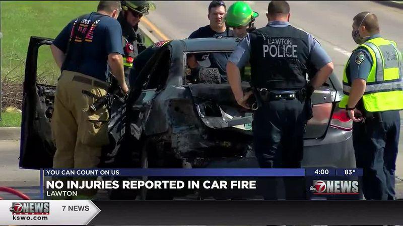 A car caught fire in Lawton Thursday morning.
