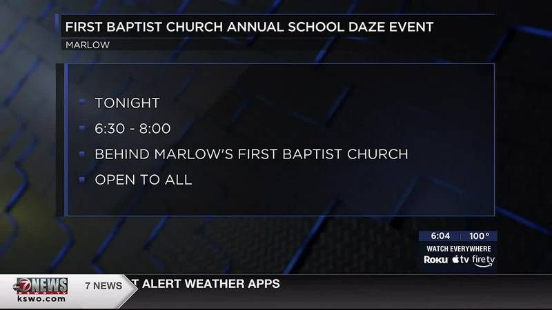 The First Baptist Church's annual School Daze is tonight from 6:30 p.m. to 8 p.m.
