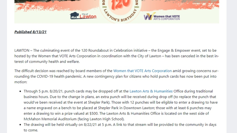 Engage and Empower event is cancelled, but the drawing becomes virtual.