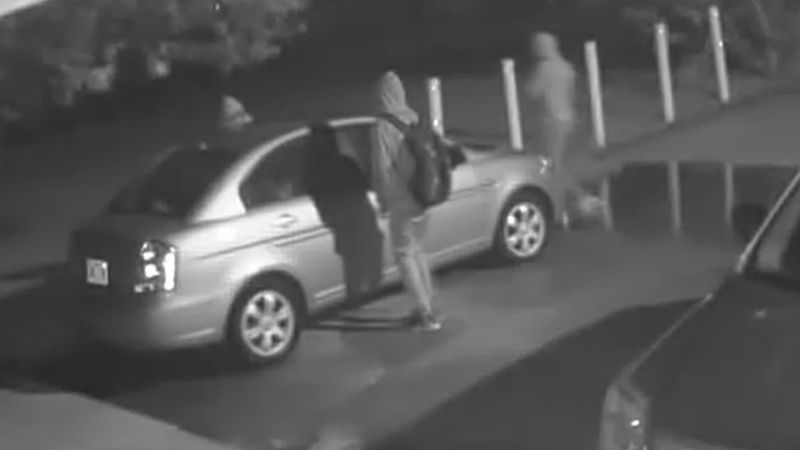 A Lawton woman says surveillance video shows people walking around and checking to see if cars...