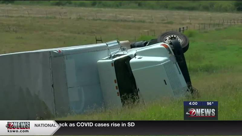Box truck rolls over on I-44 in Comanche County.