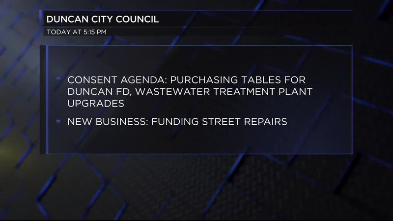 Duncan City Council will be meeting Tuesday to discuss several projects in the city.