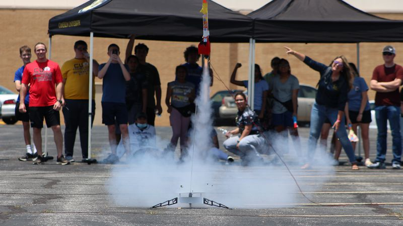 Rockets were launched Thursday as part of Cameron's Engineering and Applied Mathematics Summer...