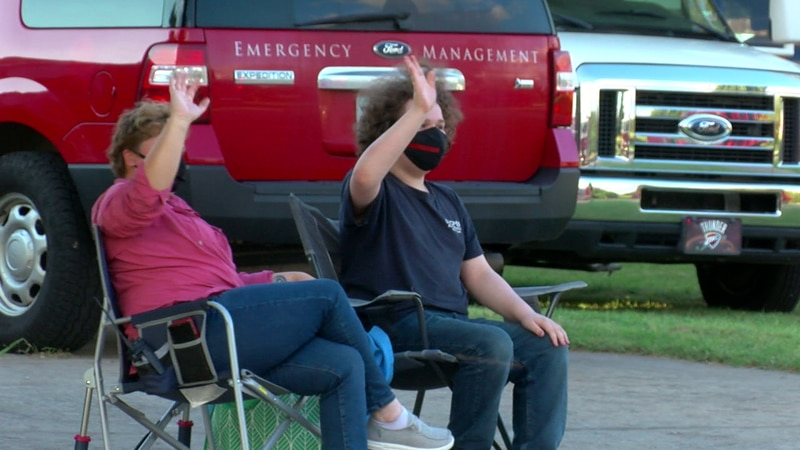 Area first responders hold parade for teen  and family.