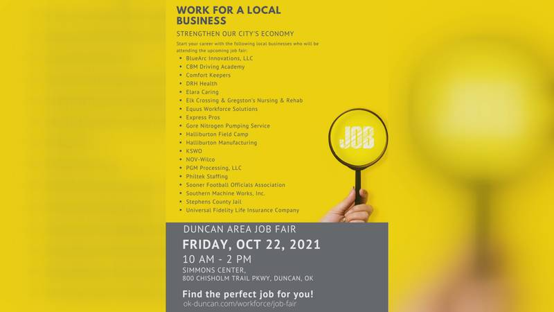 The job fair is set for Friday, Oct. 22 from 10 a.m. to 2 p.m.