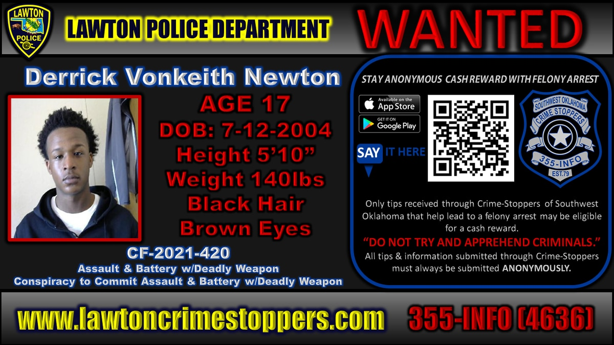 Derrick Vonkeith Newton is wanted in connection to a shooting that took place July 15.