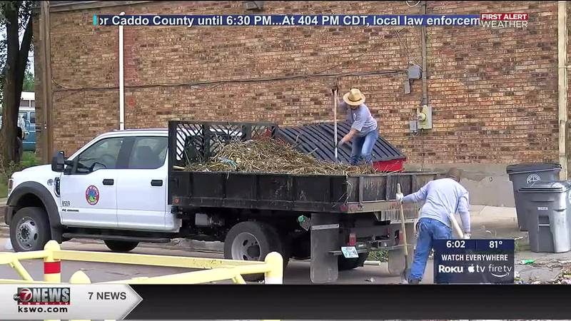 Comanche County and City of Lawton crews spent the day working to clear debris from storm drains.