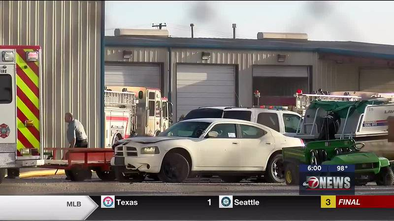 Crews contain trash collection truck fire at e City of Lawton Maintenance Facility on Aug. 11.