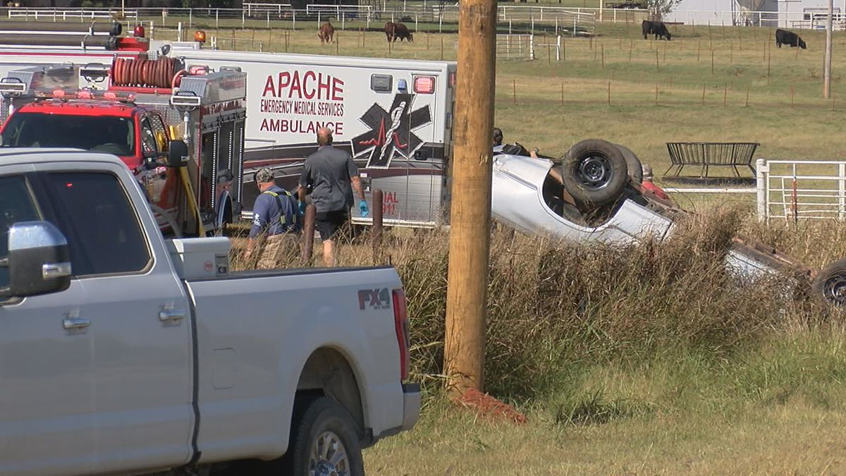 The driver was ejected from the vehicle but was awake and talking to first responders.