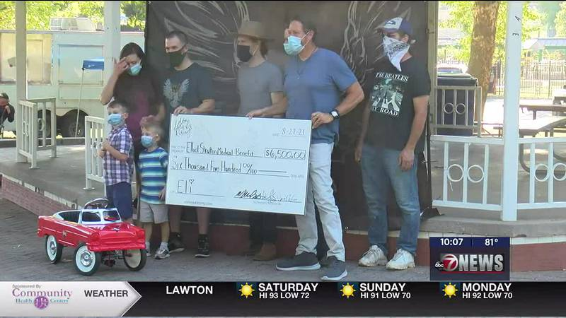 Von Hawks Rising presents family with check to help pay for 4-year-old Eli Strutton's cancer...