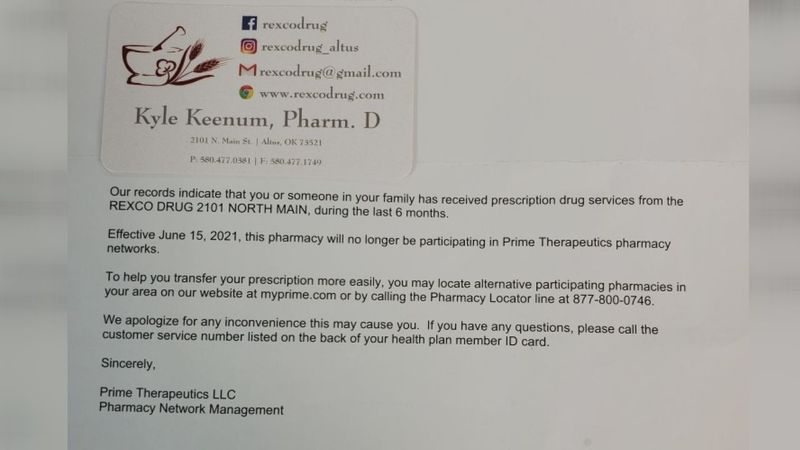 An Altus pharmacy owner says many of his customers received a letter from an insurance provider...