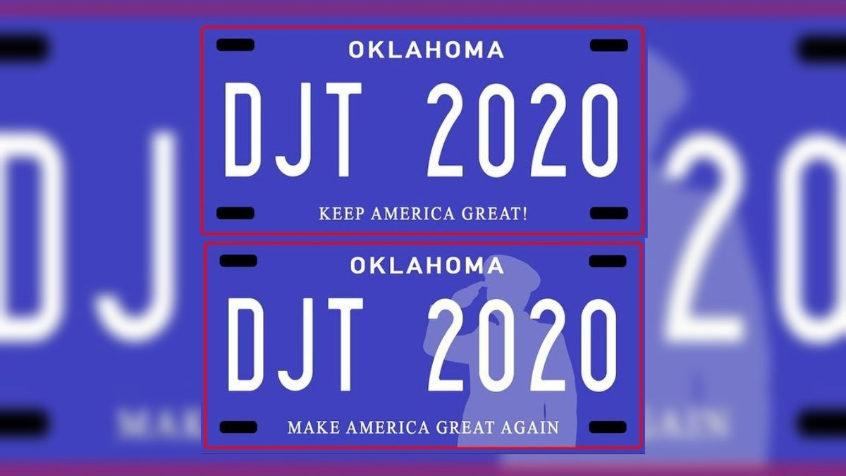 Two Oklahoma Republicans are proposing license plates featuring two of President Donald Trump's...