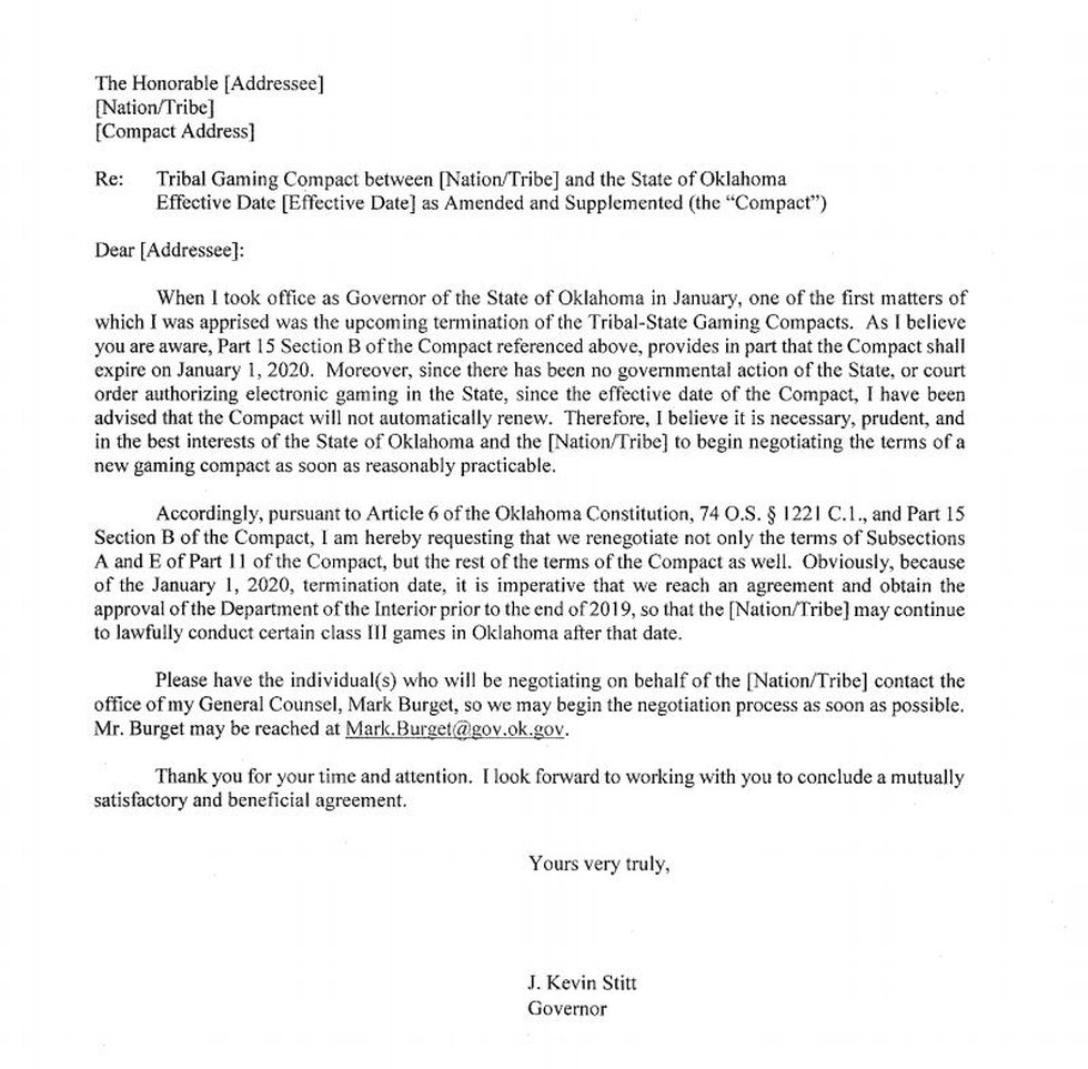The letter was sent to tribes earlier this month.