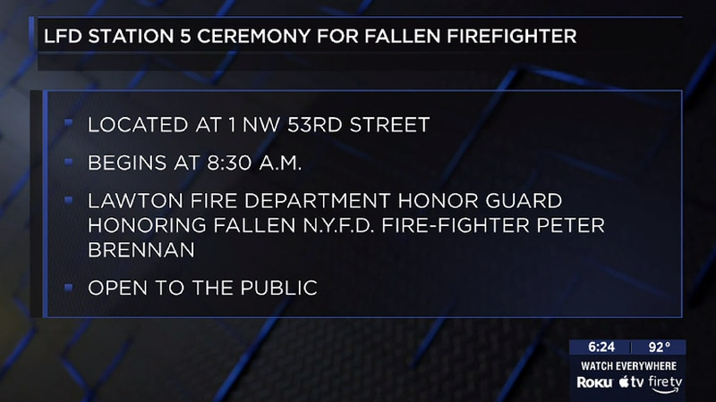 Lawton Fire Department Station 5 holds ceremony for fallen firefighter in 9/11.