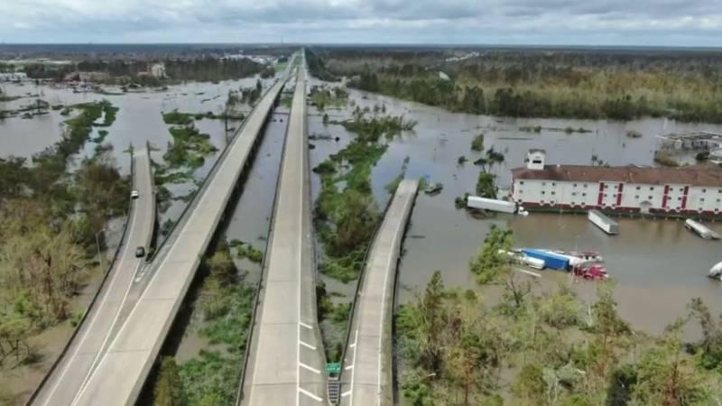 The Louisiana State Police released images Tuesday of Hurricane Ida damage along I-55 near...
