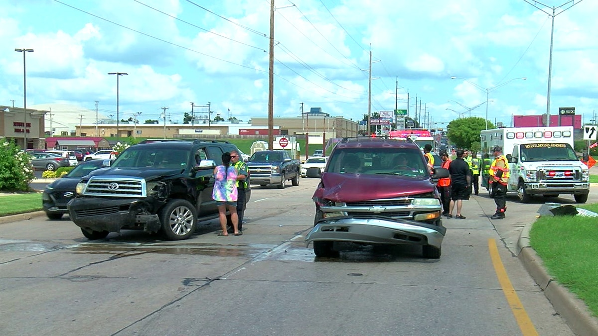Two lanes of traffic were blocked after accident in Lawton.