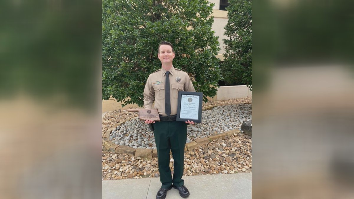 Corporal Aaron Gray received the Law Enforcement Officer of the Year this weekend.