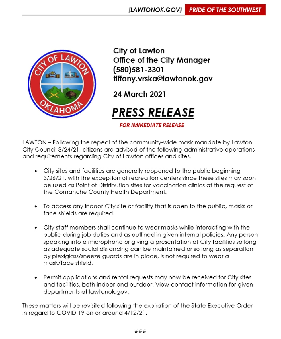 City of Lawton officials have outlined details of mask use at city property,