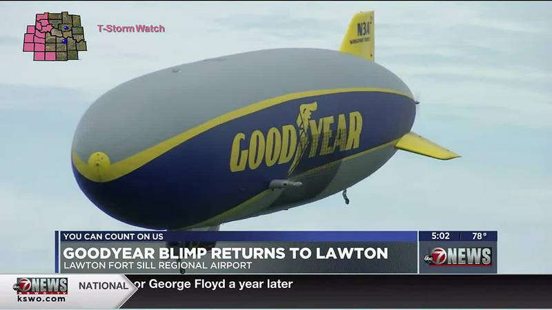 Goodyear's iconic Blimp is flying over Lawton Tuesday.