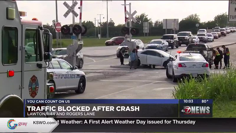 Traffic was blocked for nearly an hour after a crash off I-44 and Rogers Lane in Lawton.