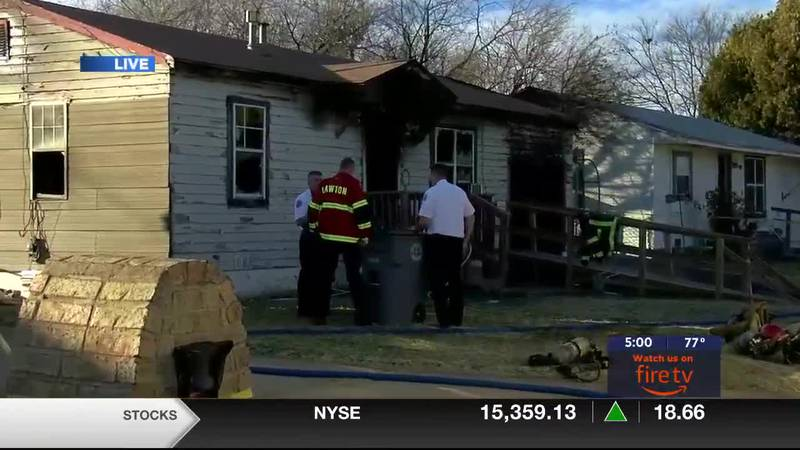 The person who was pulled from the burning home by firefighters was transported to the...